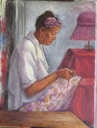 The-Hat-Maker-oil-by-Pat-roberie_24c74f00-5056-b3a8-49c71d60986cb159