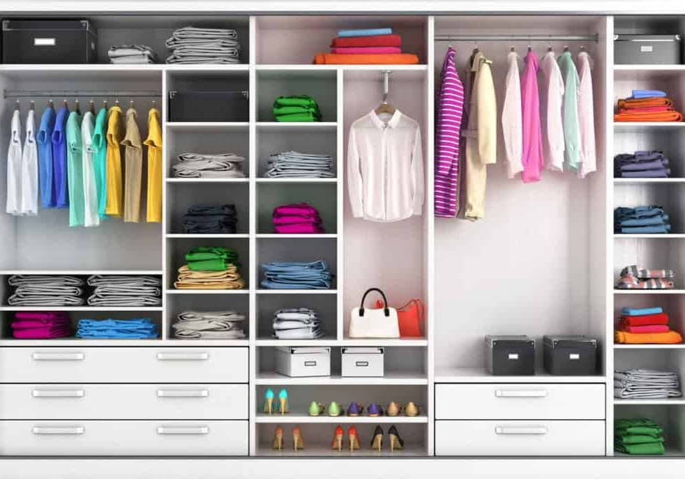 Dressing room in bright colors. Closet compartment. 3d illustration