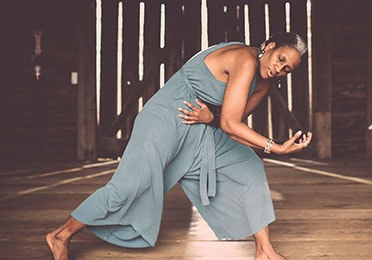 Pamela Woolford dances in the barn at the Howard County Conservancy. The barn's exterior was one of the locations she used in her film Generation.