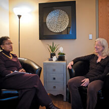 ELLICOTT CITY, MD -- 10/17/12 - Z. Colette Edwards is a Health, Wellness and Life Coach, and owns the consulting business, PeopleTweaker (cq). She meets with a former client, yoga therapist Pat Barnes, at her office in Ellicott City.? by AndrÈ Chung #AC2_0303